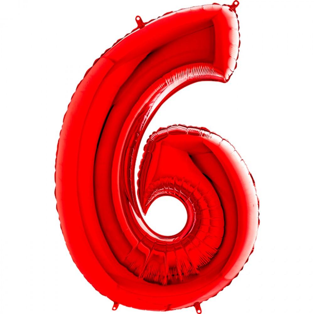6 Rakam Grabo Kırmızı Folyo Balon 102 cm