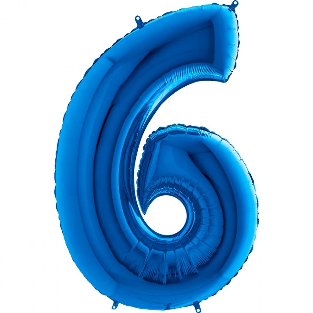 6 Rakam Grabo Mavi Folyo Balon 102 cm