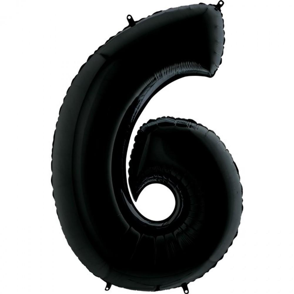 6 Rakam Grabo Siyah Folyo Balon 102 cm