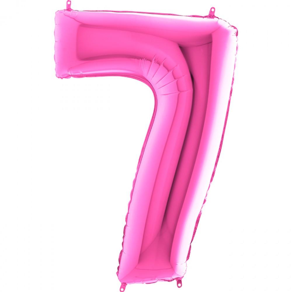 7 Rakam Grabo Fuşya Folyo Balon 102 cm