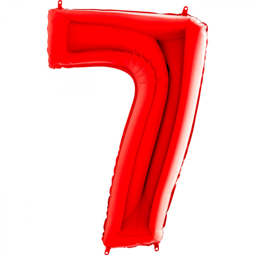 7 Rakam Grabo Kırmızı Folyo Balon 102 cm