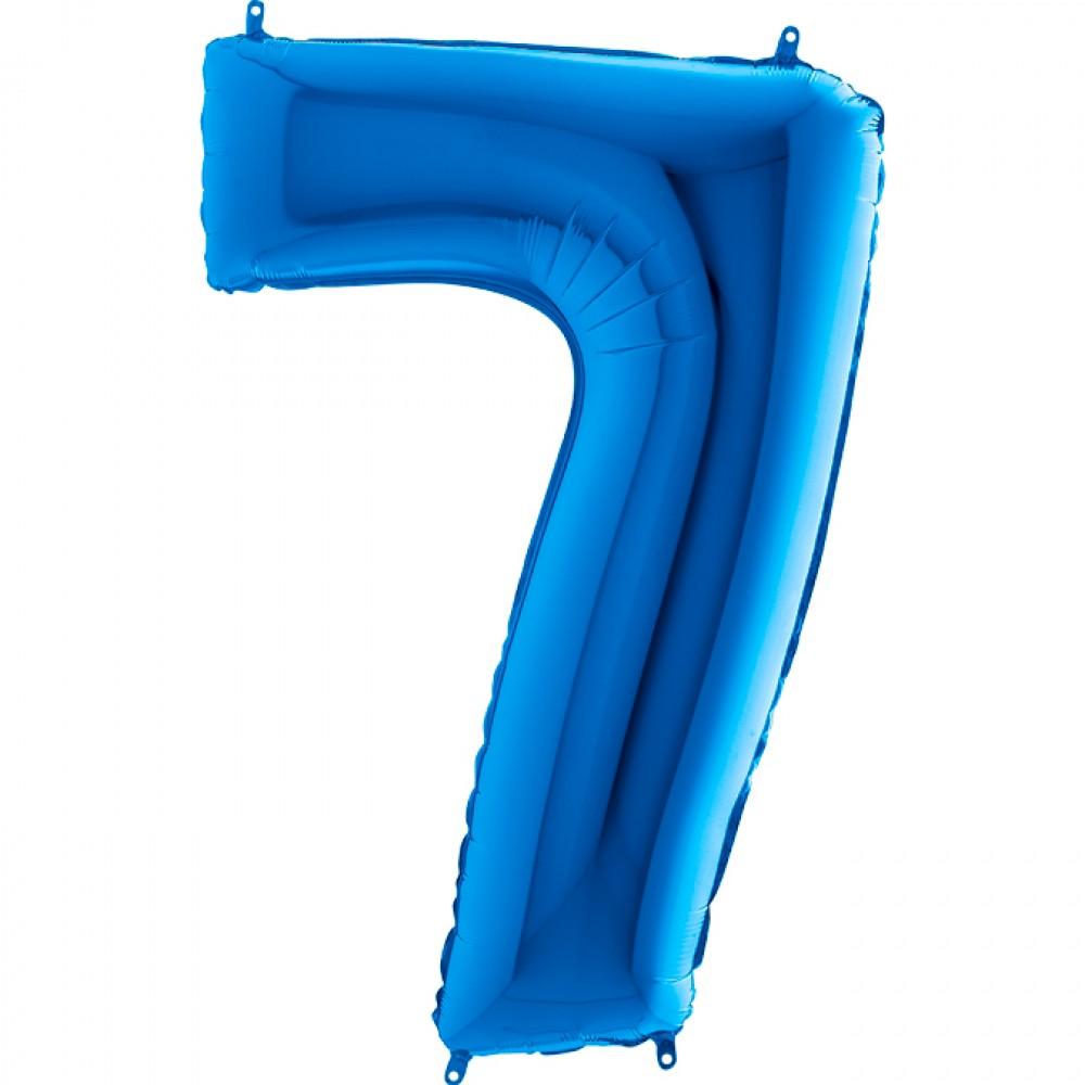 7 Rakam Grabo Mavi Folyo Balon 102 cm