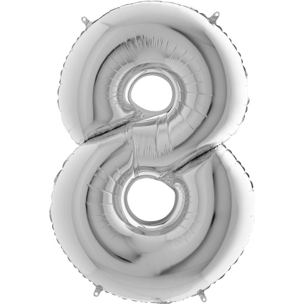 8 Rakam Grabo Gümüş Folyo Balon 102 cm