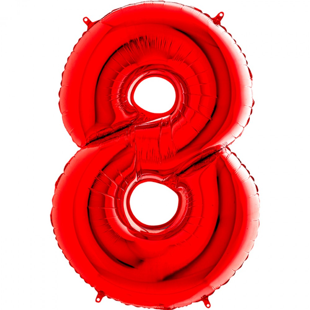 8 Rakam Grabo Kırmızı Folyo Balon 102 cm
