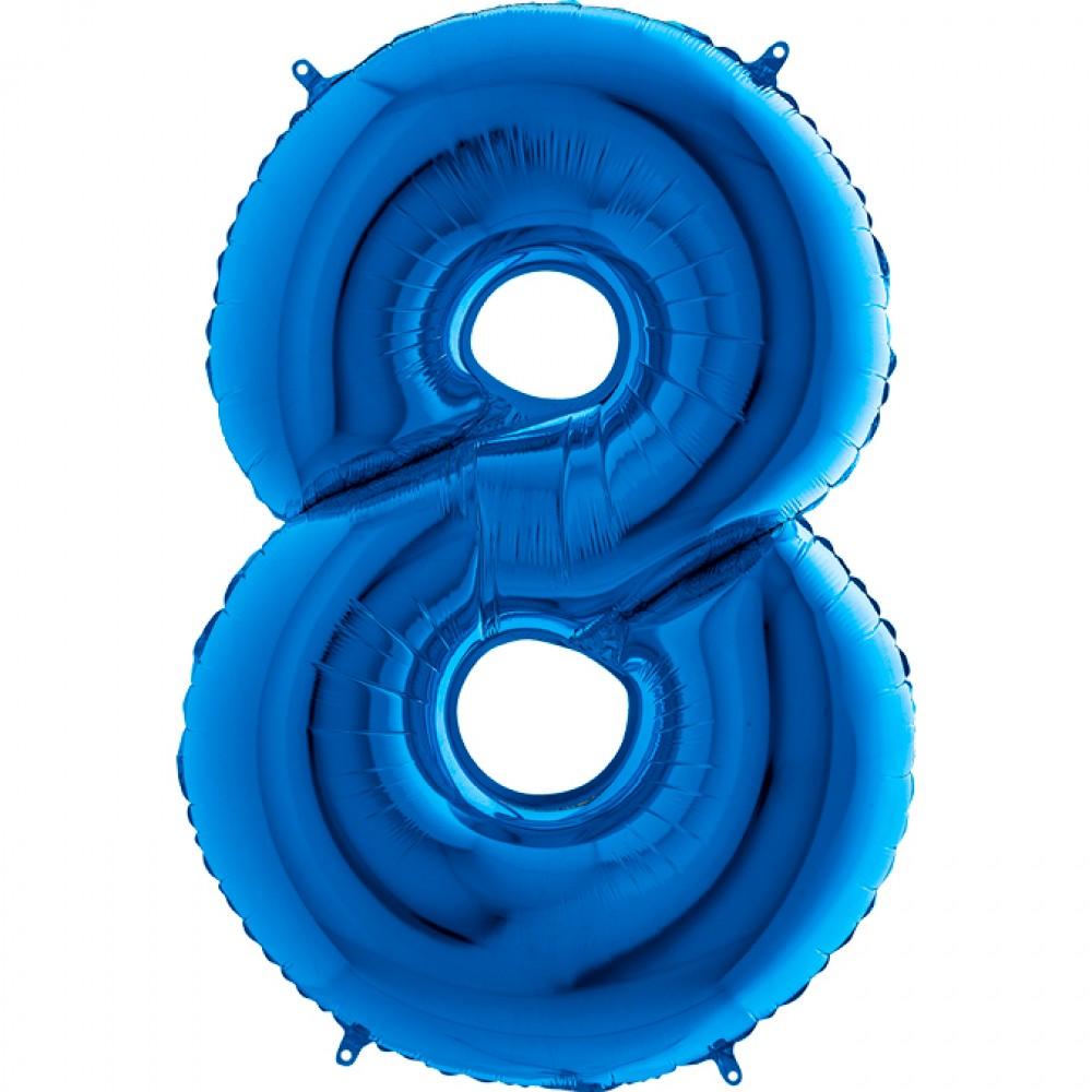 8 Rakam Grabo Mavi Folyo Balon 102 cm