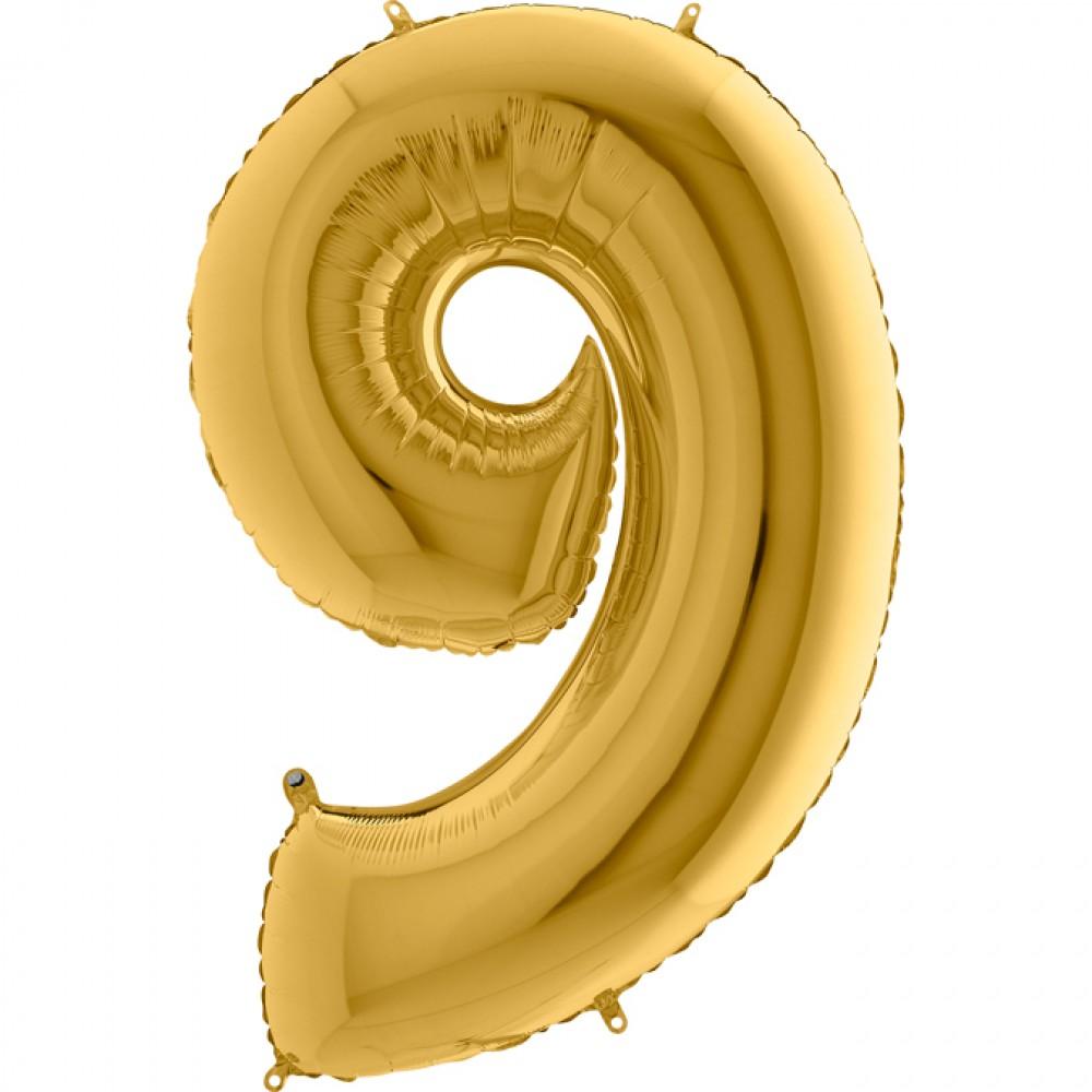 9 Rakam Grabo Altın Folyo Balon 102 cm