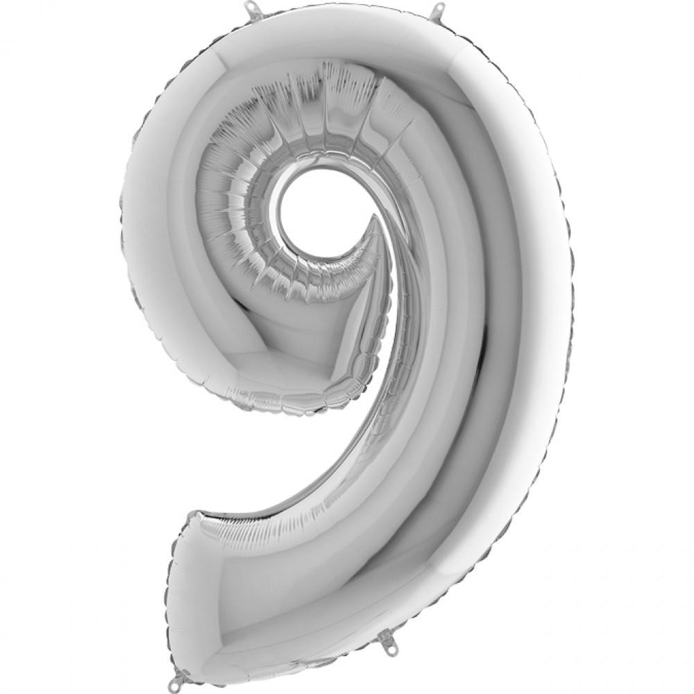 9 Rakam Grabo Gümüş Folyo Balon 102 cm