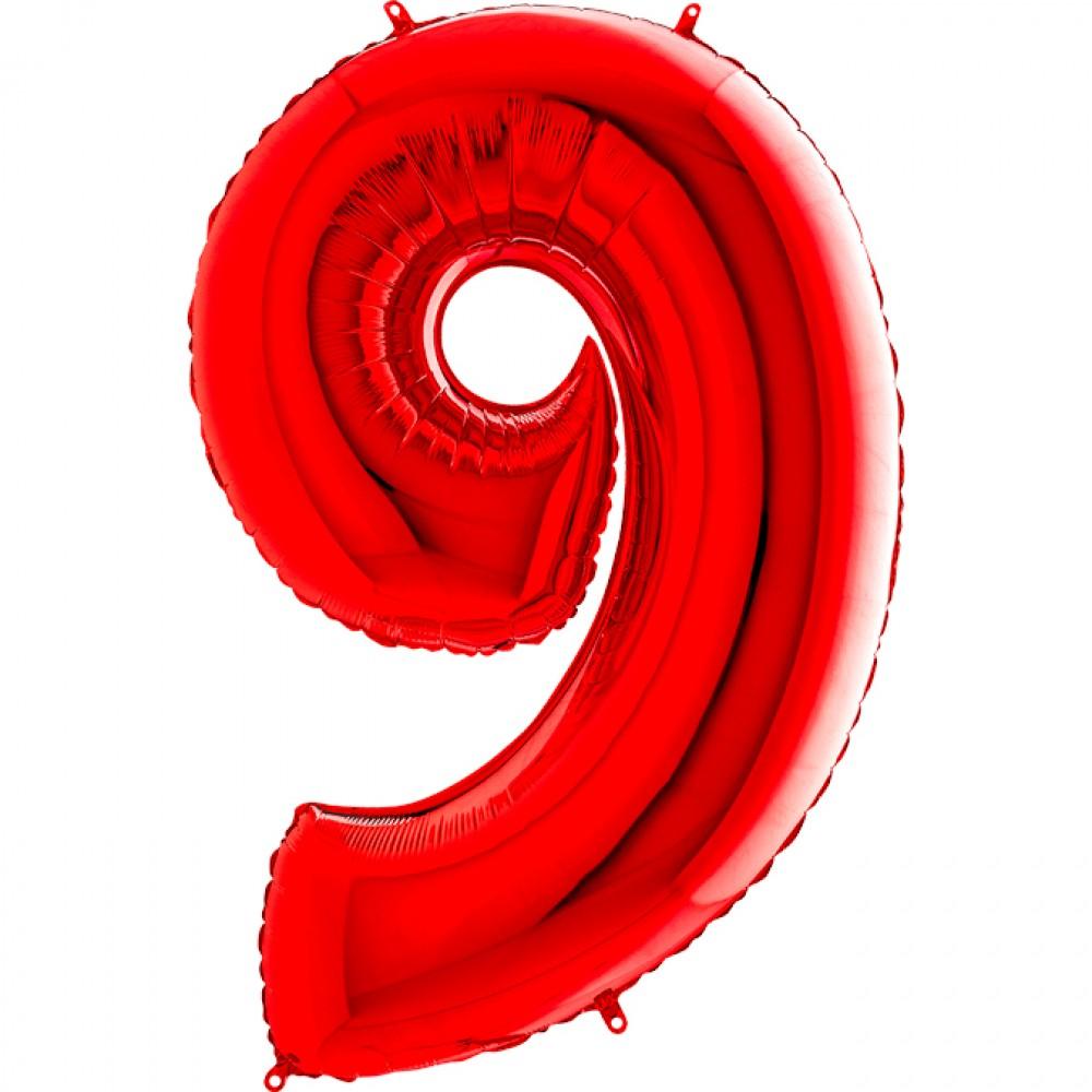 9 Rakam Grabo Kırmızı Folyo Balon 102 cm