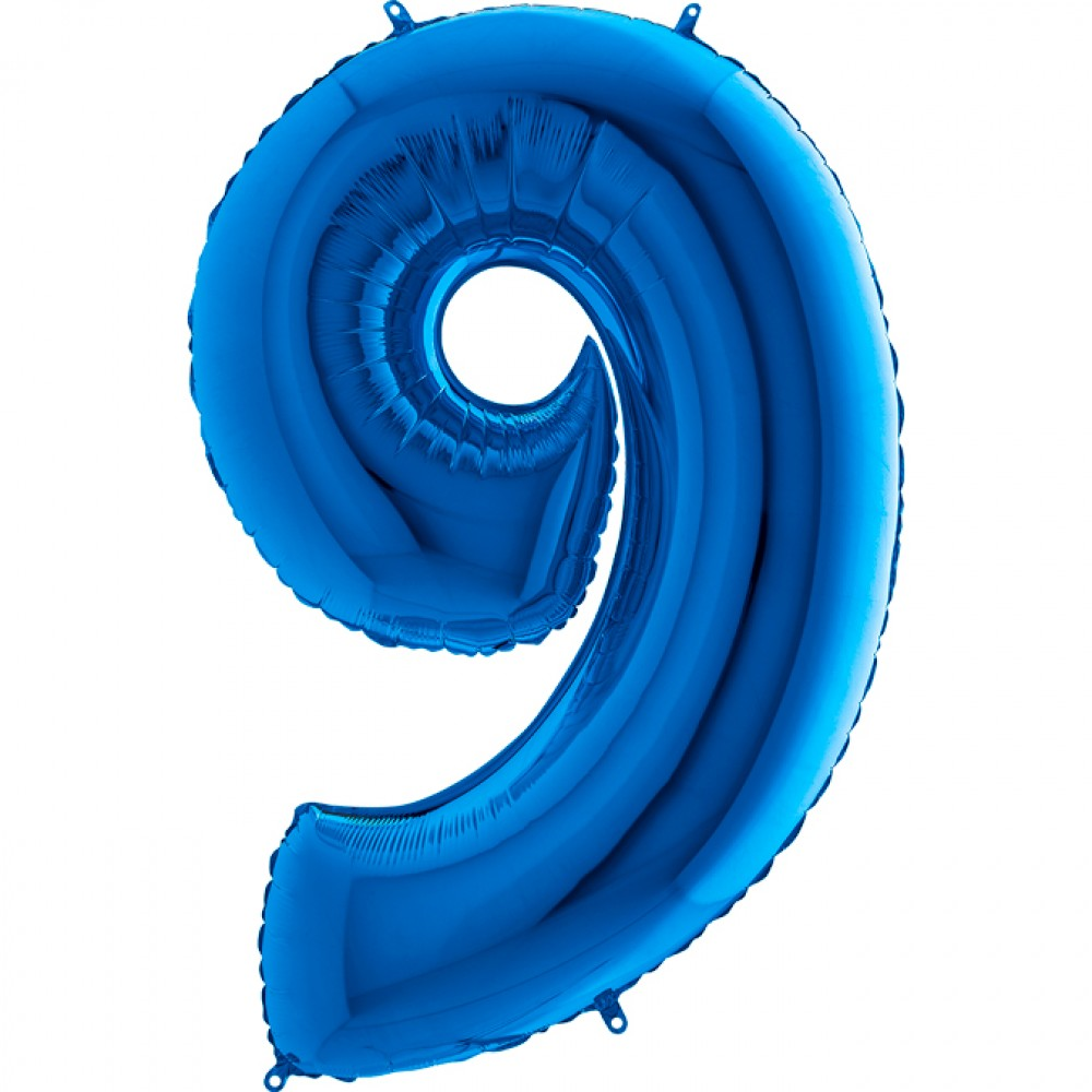 9 Rakam Grabo Mavi Folyo Balon 102 cm
