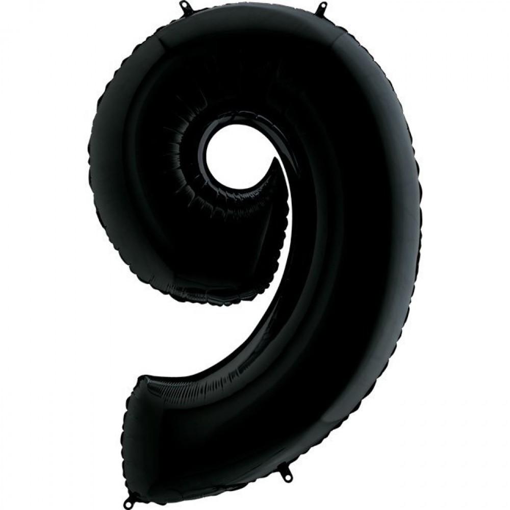 9 Rakam Grabo Siyah Folyo Balon 102 cm