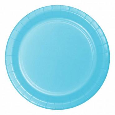 Açık Mavi Pastel Karton Tabak 23 cm 8\'li