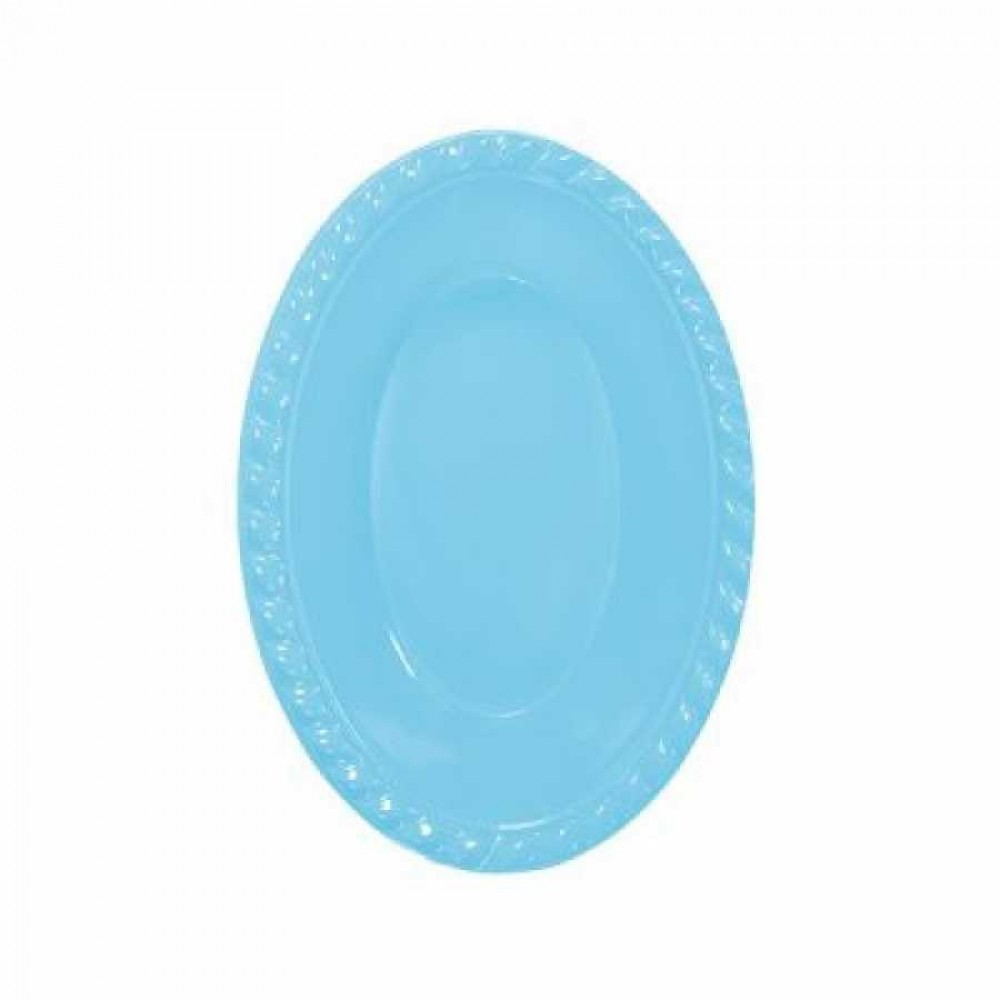 Açık Mavi Plastik Oval Kase 12x17 cm 8\'li