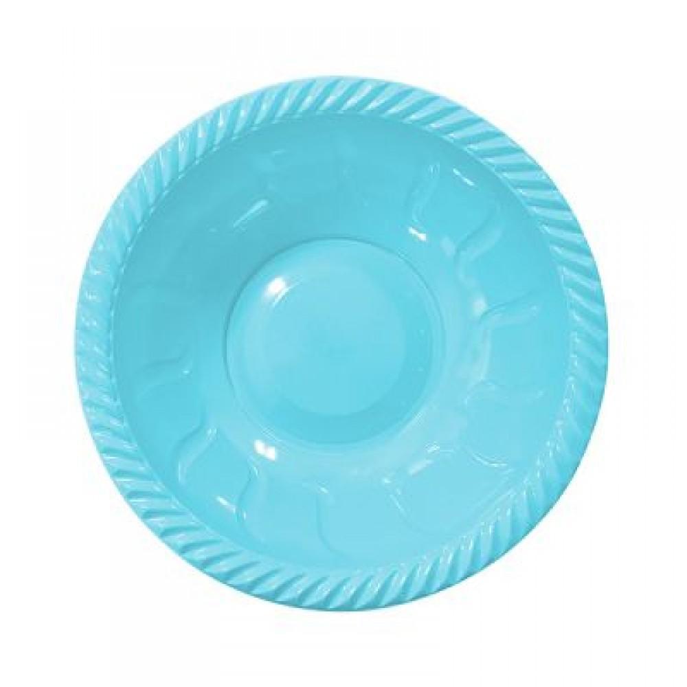 Açık Mavi Plastik Yuvarlak Kase 22 cm 6\'lı