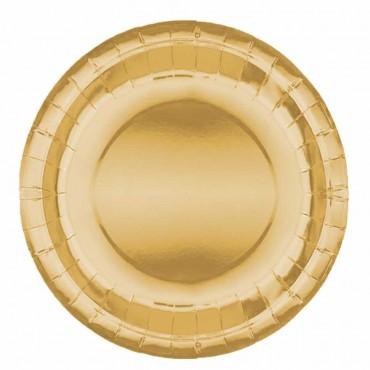 Altın Metalik Karton Tabak 23 cm 8\'li