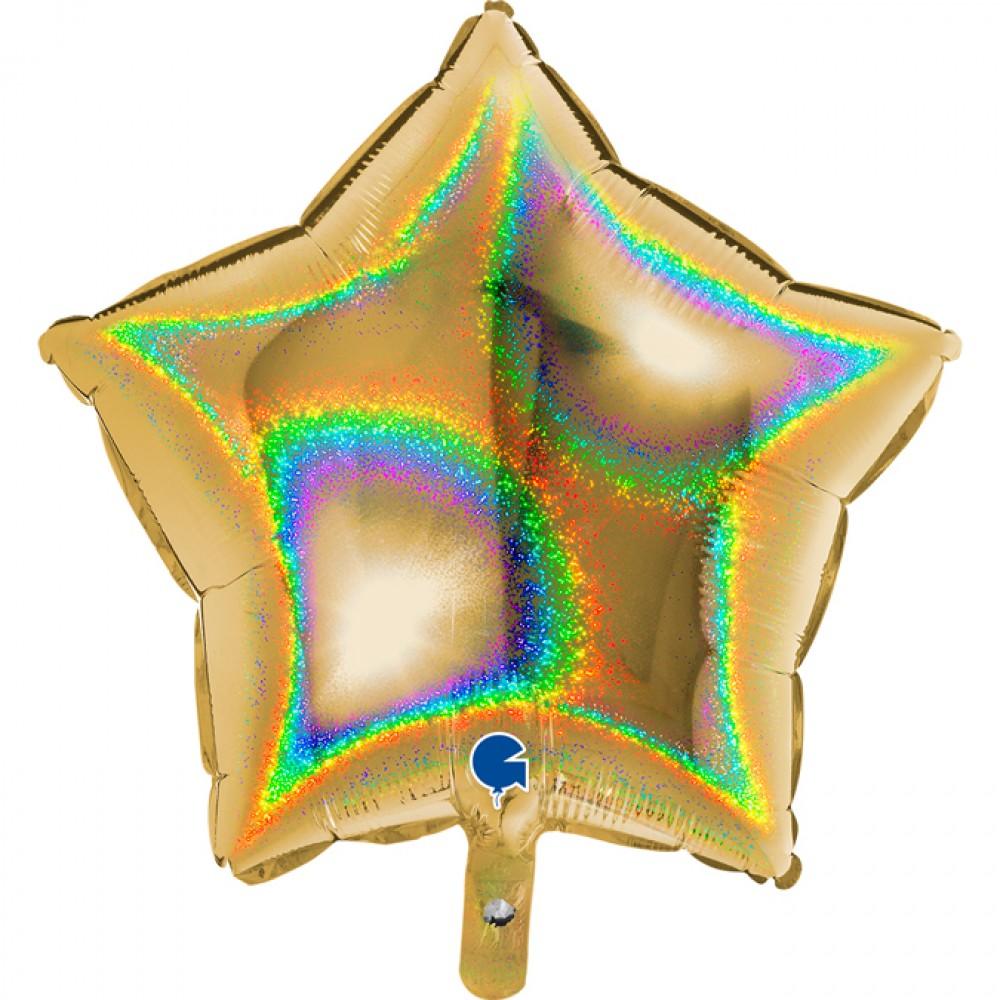 Altın Simli Yıldız Grabo Folyo Balon 46 cm