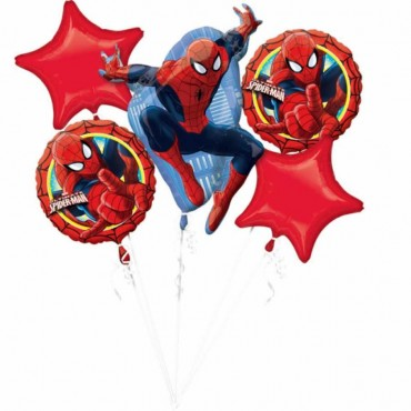Spiderman Folyo Balon Buketi 5\'li