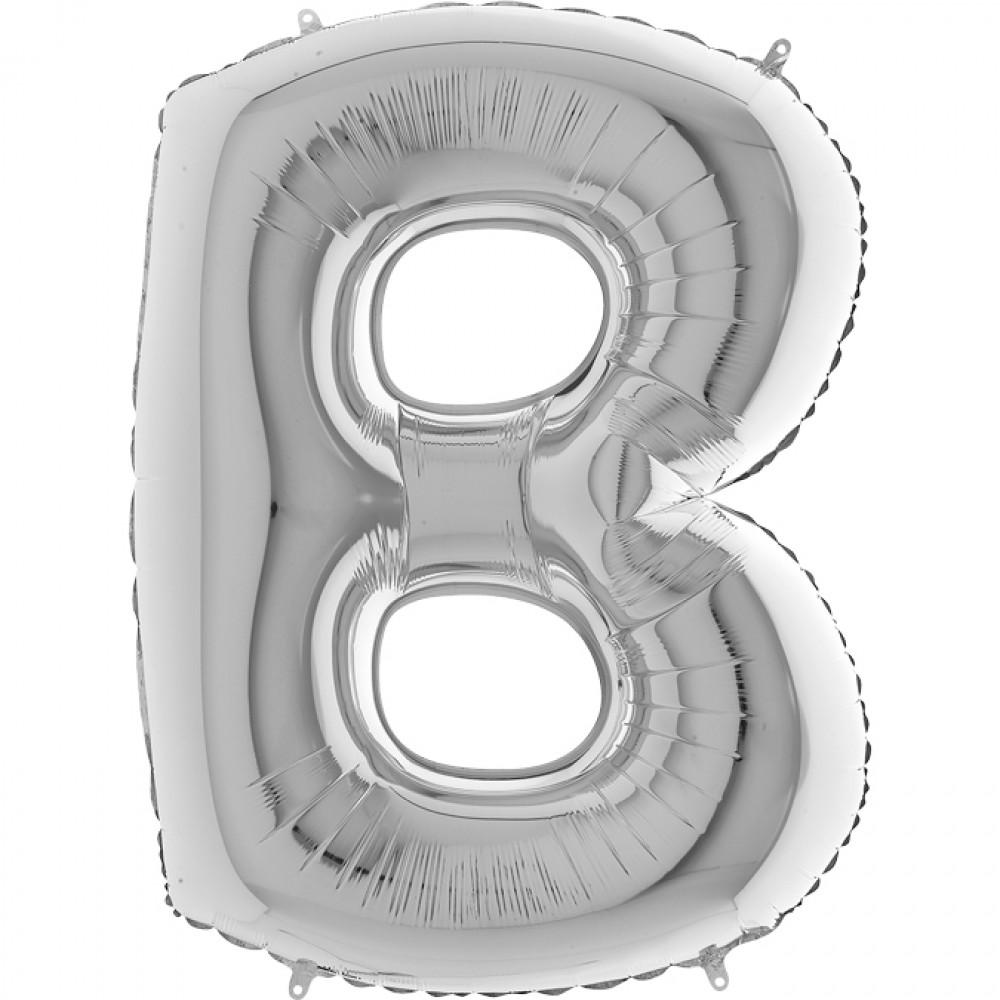 B Harf Grabo Gümüş Folyo Balon 102 cm