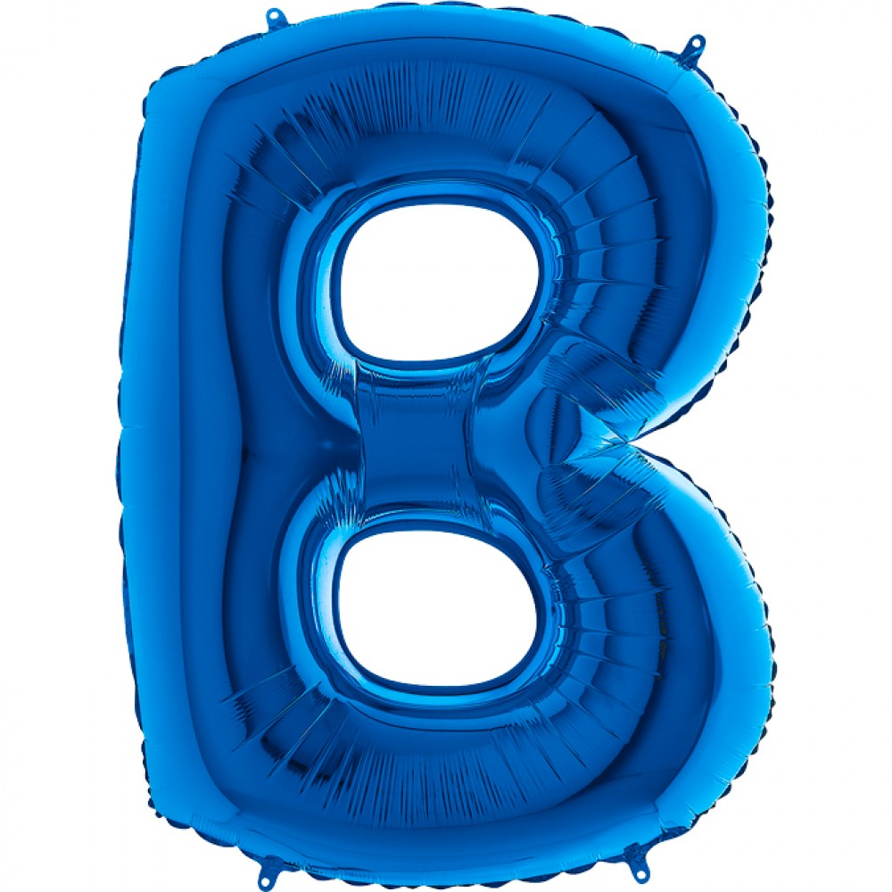 B Harf Grabo Mavi Folyo Balon 102 cm