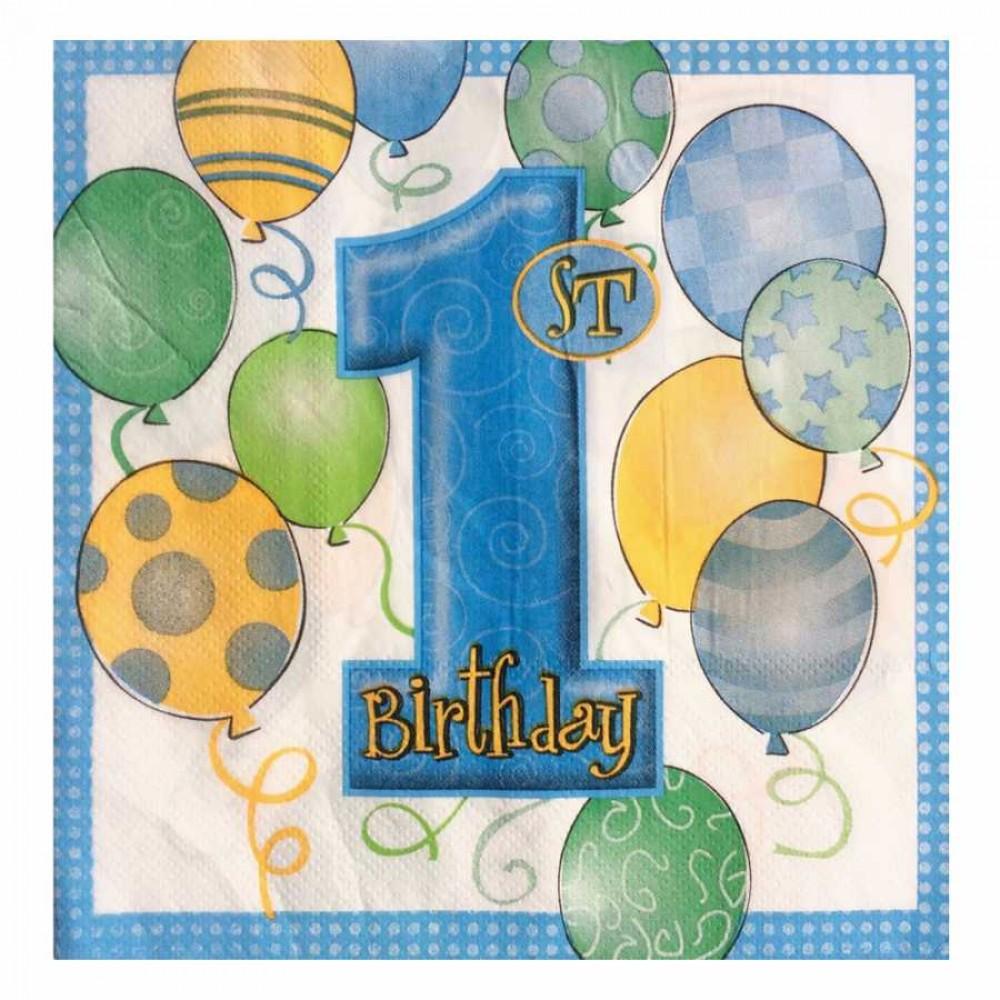 Balonlar 1 Yaş Mavi Kağıt Peçete 33x33 cm 20\'li