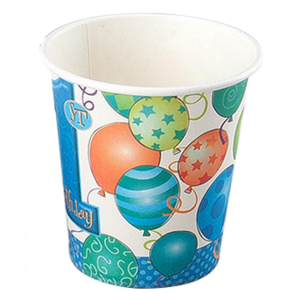 Balonlar 1 Yaş Mavi Karton Bardak 8\'li
