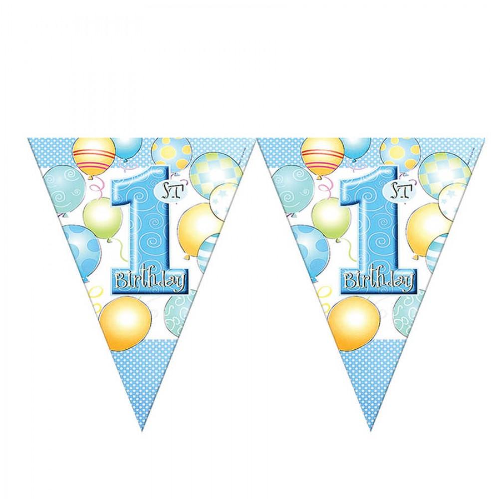 Balonlar 1 Yaş Mavi Lisanslı Üçgen Bayrak Afiş