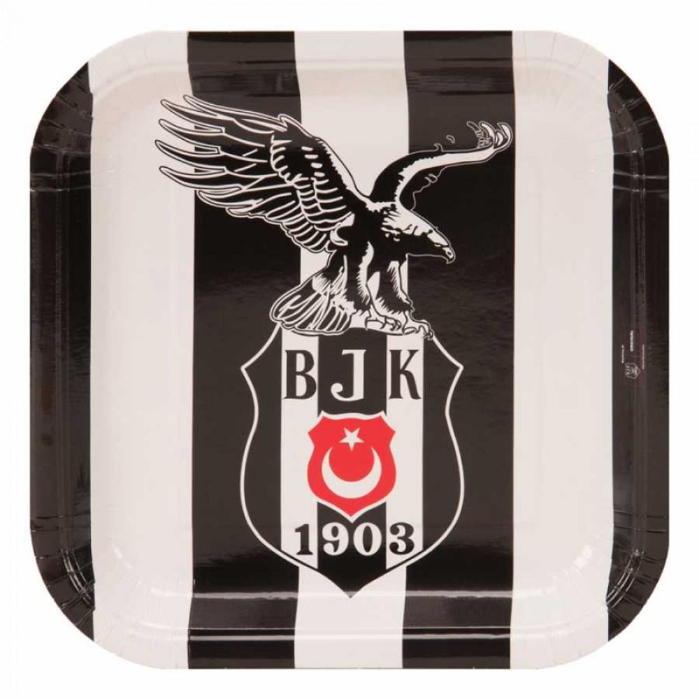 Beşiktaş Karton Kare Tabak 21 cm 8\'li