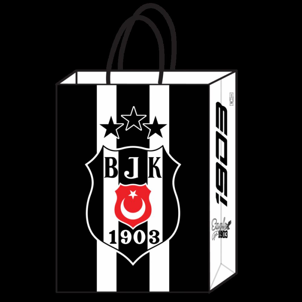Beşiktaş Lisanslı Kraft Hediye Çantası 18x8x24 cm 12\'li