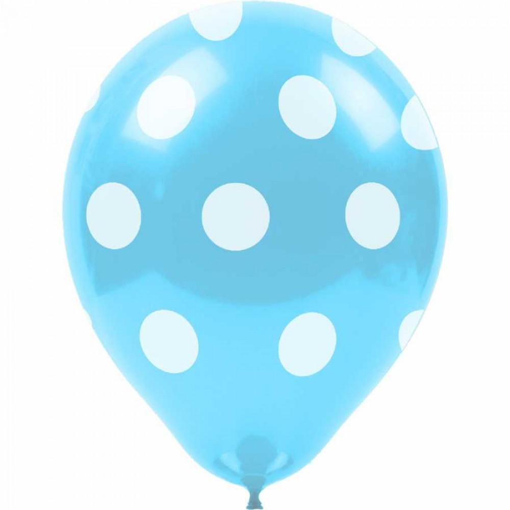 Beyaz Puantiyeli Açık Mavi Balon 100\'lü