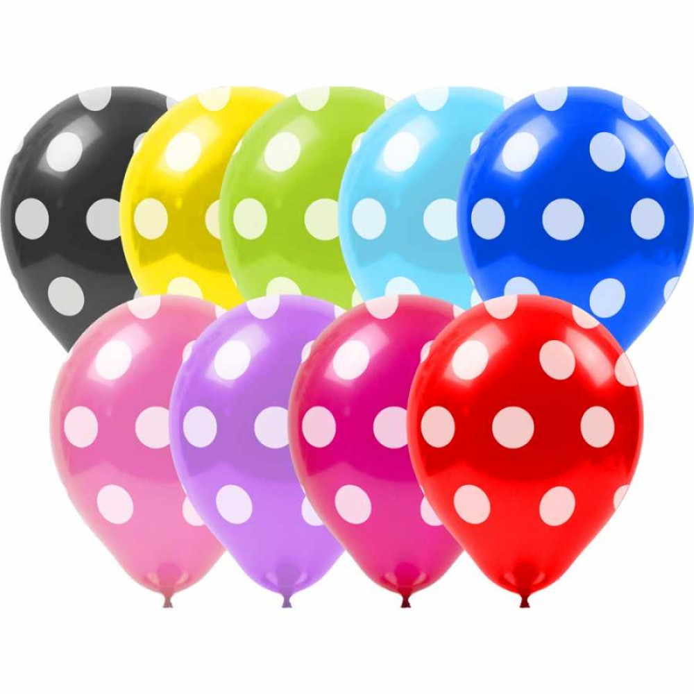 Beyaz Puantiyeli Rengarenk Balon 100\'lü