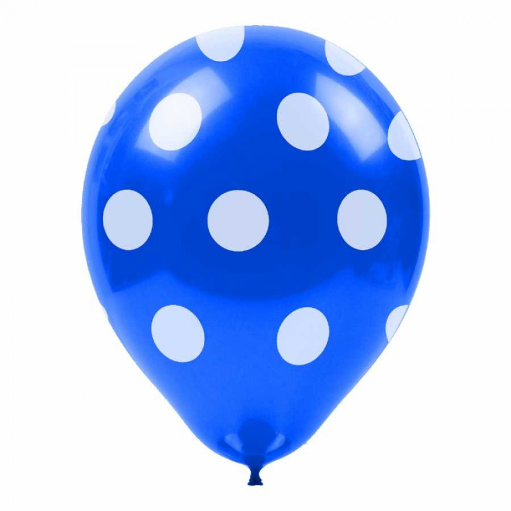 Beyaz Puantiyeli Mavi Balon 100\'lü
