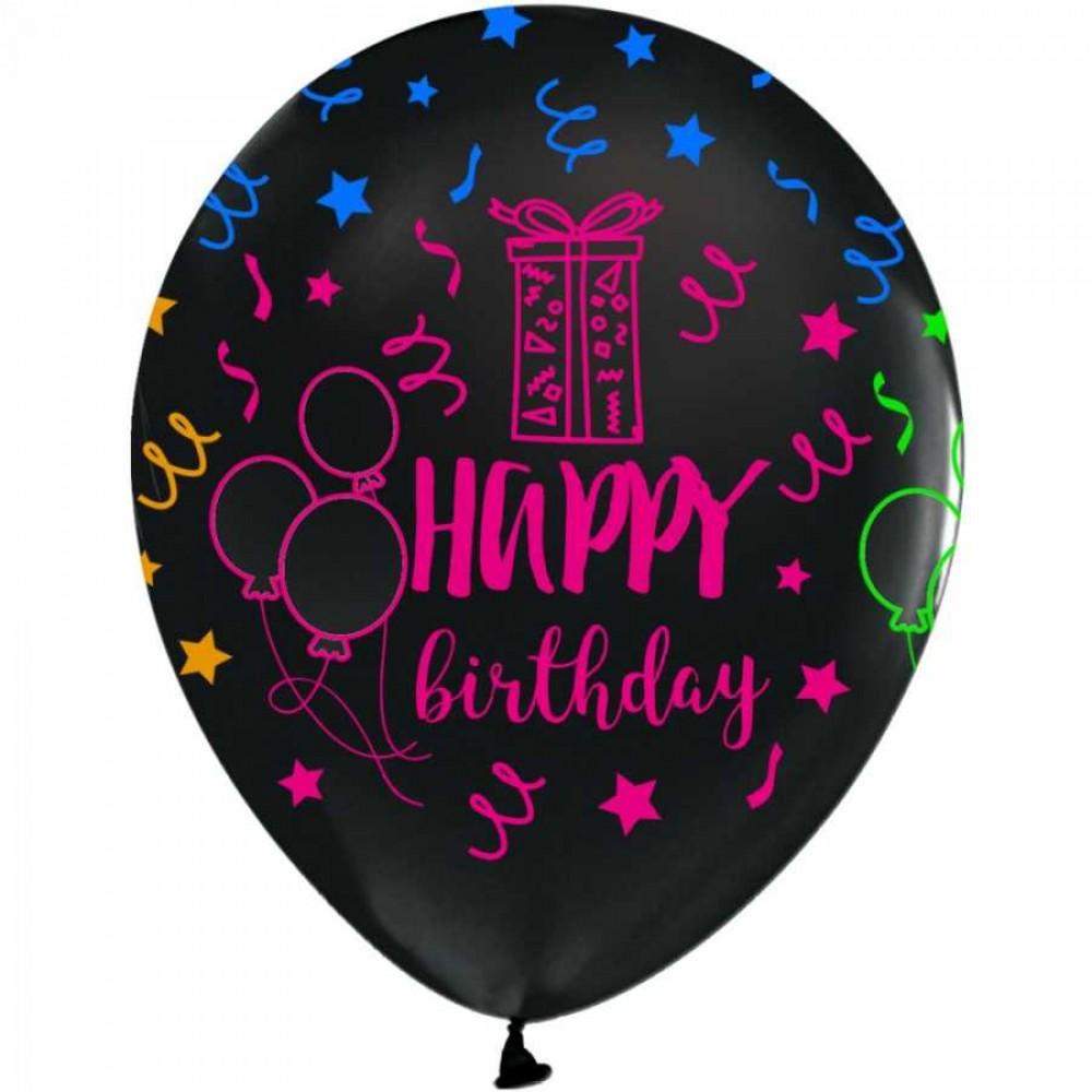 Çepeçevre Happy Birthday Baskılı Siyah Floresan Balon 100\'lü