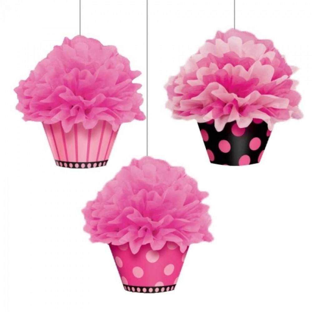 Üçlü Cupcake Ponpon Süs Seti