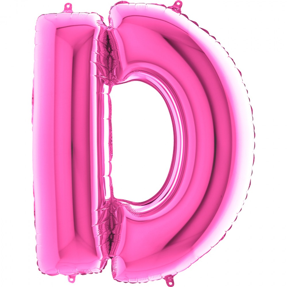 D Harf Grabo Fuşya Folyo Balon 102 cm