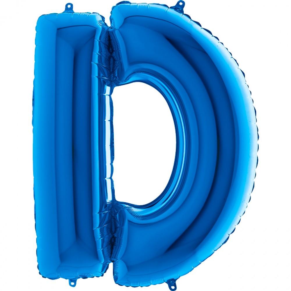 D Harf Grabo Mavi Folyo Balon 102 cm