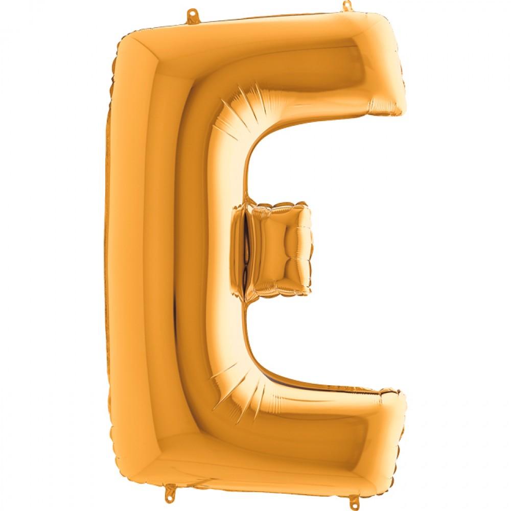 E Harf Grabo Altın Folyo Balon 102 cm