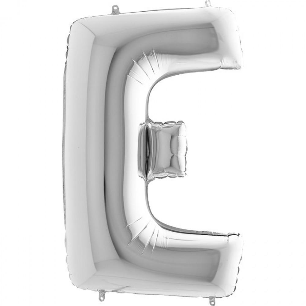 E Harf Grabo Gümüş Folyo Balon 102 cm