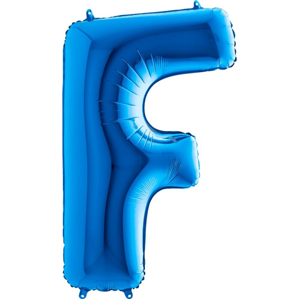 F Harf Grabo Mavi Folyo Balon 102 cm