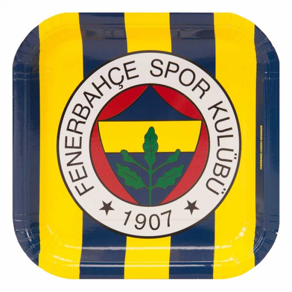Fenerbahçe Karton Kare Tabak 21 cm 8\'li