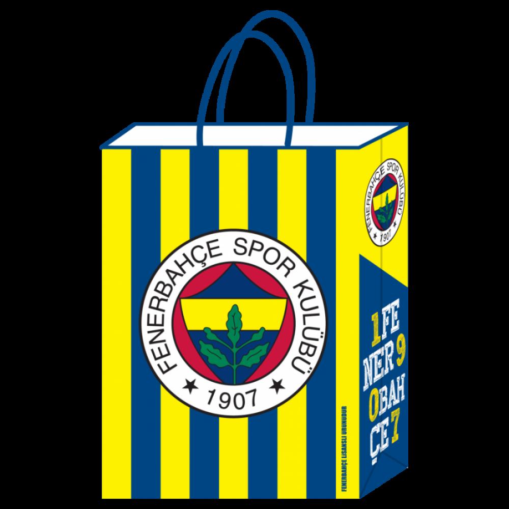 Fenerbahçe Lisanslı Kraft Hediye Çantası 18x8x24 cm 12\'li