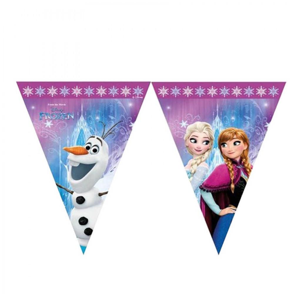 Frozen Buz Işıltısı Lisanslı Üçgen Bayrak Afiş