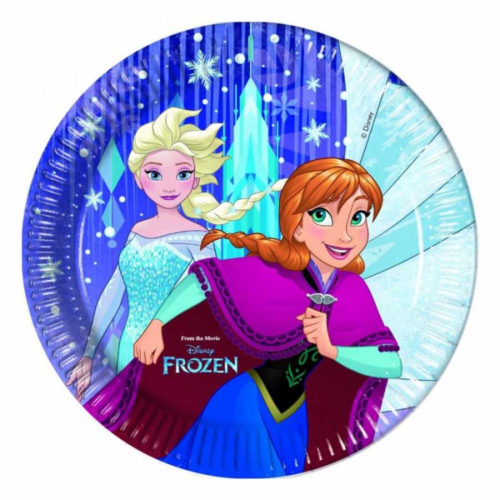 Frozen Kar Taneleri Karton Tabak 23 cm 8\'li