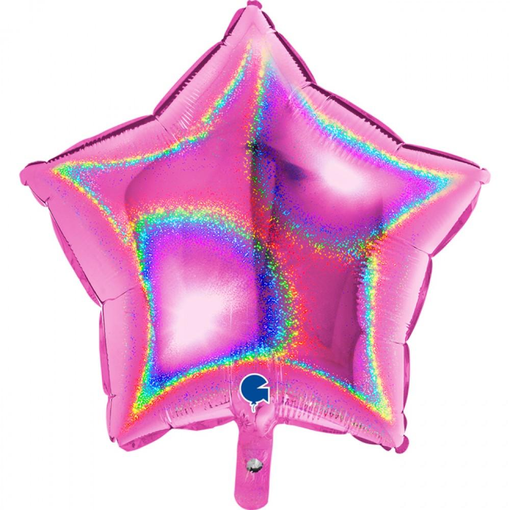 Fuşya Simli Yıldız Grabo Folyo Balon 46 cm