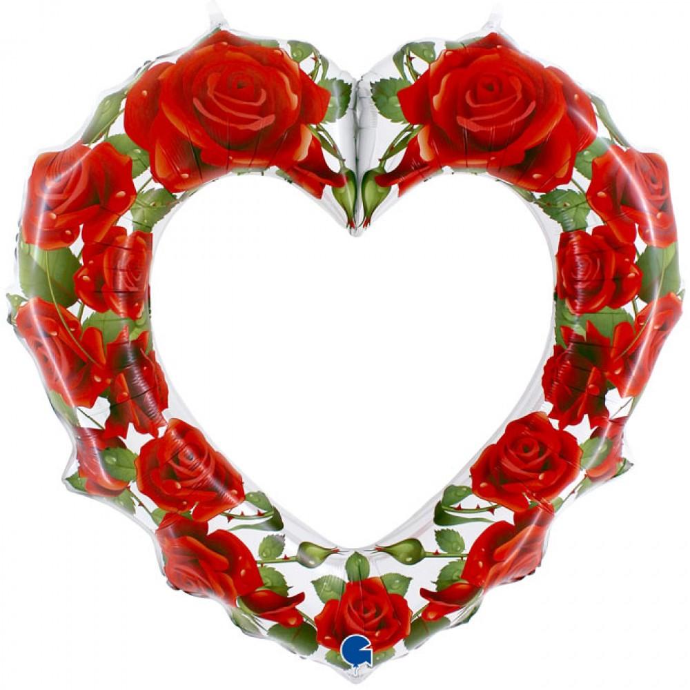 Gül Desenli Kırmızı Kalp Grabo Folyo Balon 107 cm