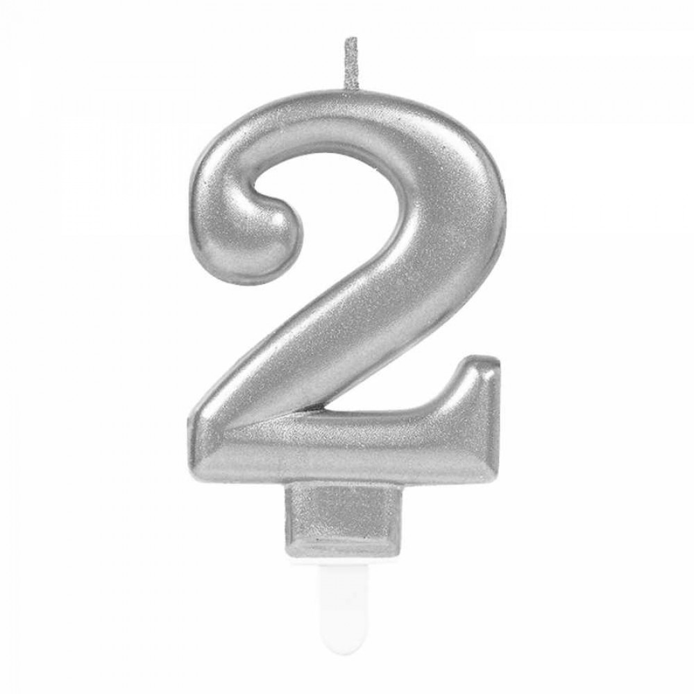 2 Rakam Gümüş Işıltılı Mum 7 cm