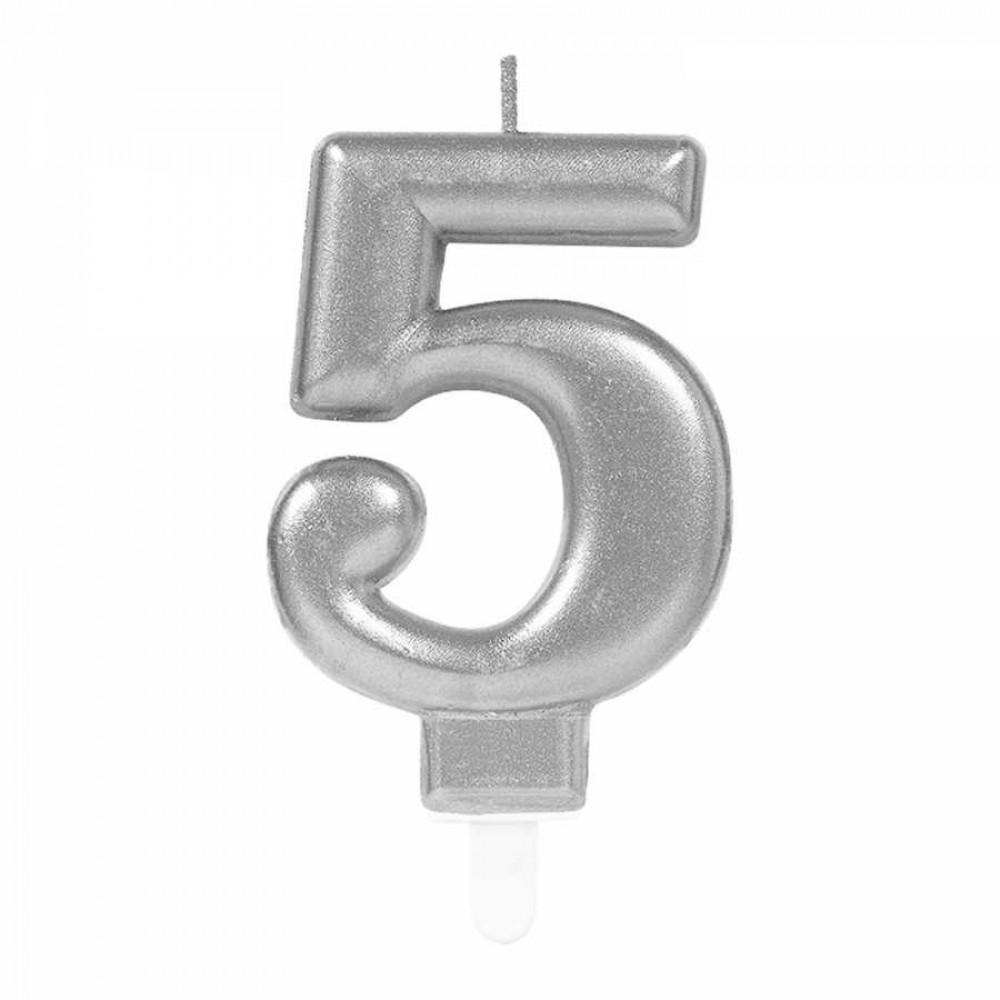 5 Rakam Gümüş Işıltılı Mum 7 cm