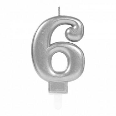 6 Rakam Gümüş Işıltılı Mum 7 cm