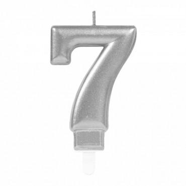 7 Rakam Gümüş Işıltılı Mum 7 cm