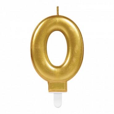 0 Rakam Altın Işıltılı Mum 7 cm