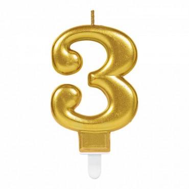 3 Rakam Altın Işıltılı Mum 7 cm