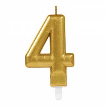 4 Rakam Altın Işıltılı Mum 7 cm